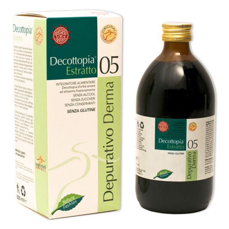 <h5><strong>Classe Decottopirica:</strong></h5><p>05 •  Diaforetici Decottopirici</p><h5><strong>Descrizione:</strong></h5><p>Integratore alimentare senza alcool, senza zuccheri, senza conservanti, senza glutine.</p><h5><strong>Effetto Fisiologico:</strong></h5><p>Calendula: trofismo e funzionalità della pelle;<br>Salsapariglia: funzioni depurative dell'organismo (benessere della pelle).</p>